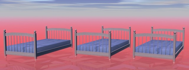 Three simple beds - 3D render