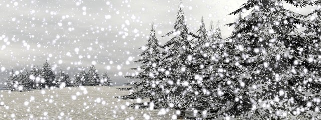 Winter snowing landscape - 3D render