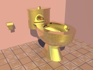 Golden toilet - 3D render