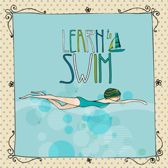 Illustration of a young girl swimming
