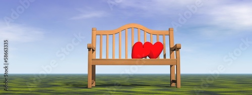 Love on a bench - 3D render
