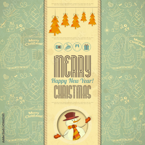 Retro Merry Christmas Card with Snowman