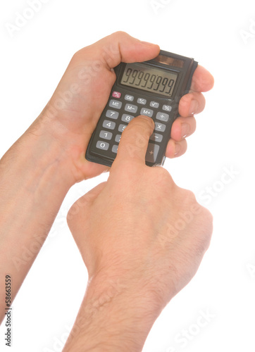 man's hand and a calculator