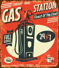 Grunge retro gas station sign. Vector illustration.