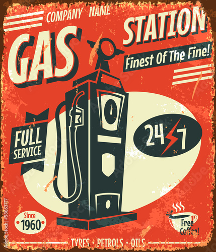 retro gas station sign