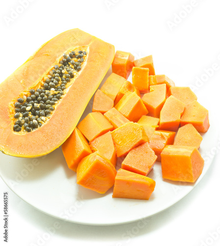 Sweet papaya in dish , for diet and nutrition