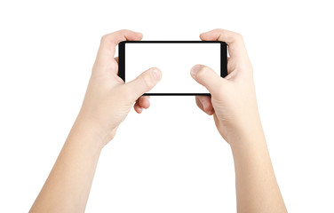 Two hands playing on smart phone, isolated