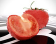 tomatoes close up, on painted surface 3d illustrated