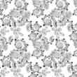 Ornamental seamless floral pattern with doodles and cucumbers