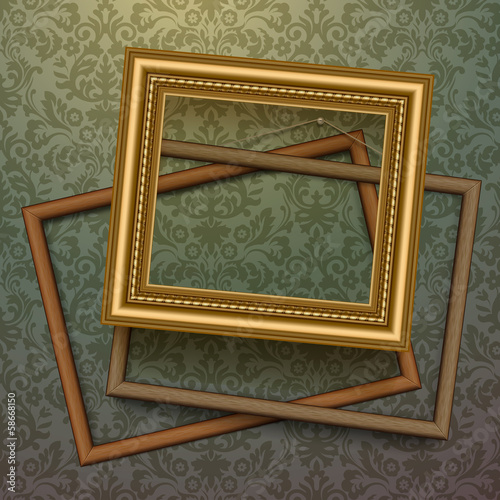 Vintage golden frames on background, vector Eps10 image.