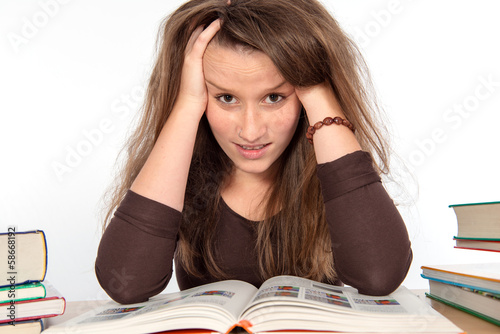 young woman has difficult studies