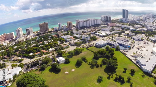Aerial panoramic footage of Miami Beach