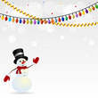 Festive snowman in hat on the background with garlands