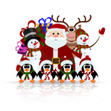 Santa Claus, penguins, reindeer and snowman on the ice - greetin