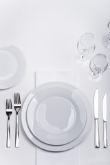 White celebration table set