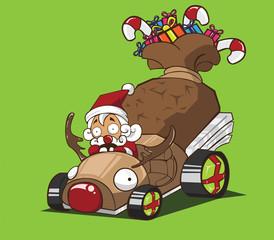 Santa claus drive a car reindeer style