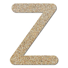 Font rough gravel texture alphabet Z