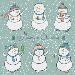 Cartoon snowmen set, christmas illustration
