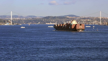 time lapse large cargo ship passing Bosporus Bridge