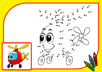 Сoloring book (dot to dot helicopter)
