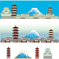 Mt,Fuji and Japanese castles and houses. 日本の風景