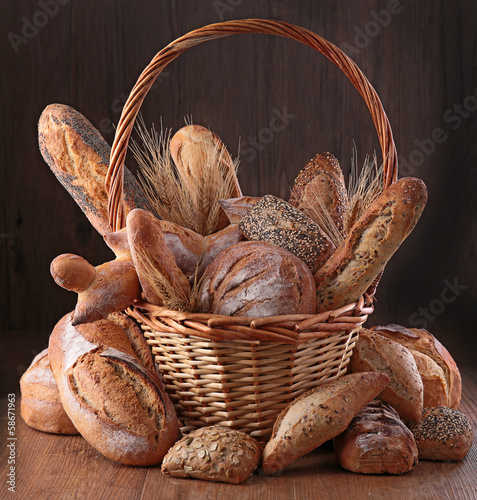 Foto op Aluminium Brood assortment of bread, baking products