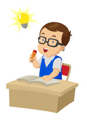 Cartoon illustration of a boy were studying