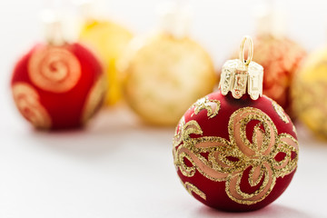 Red and golden Christmas ornaments