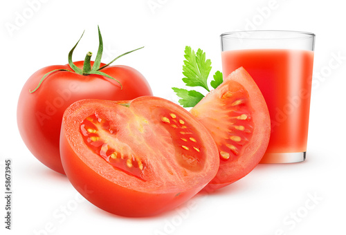 Tomato juice and fresh tomatoes isolated on white