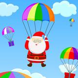santa with a parachute poster