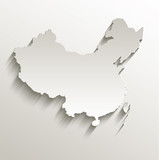 China map card paper 3D natural