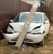 car crashed into a pole - 58674527
