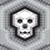 Skull Seamless Geometric Pattern in grayscale colors