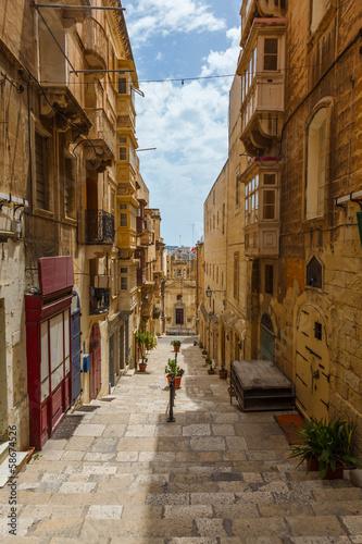 Maltese architecture in Valletta, Malta - 58674526