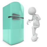 man and retro fridge