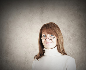 Funny looking woman with reading glasses