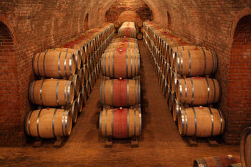 Barrels in the cellar in order