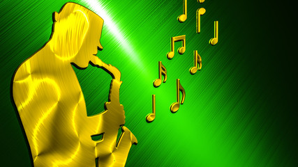 Saxophonist Background Gold - Green