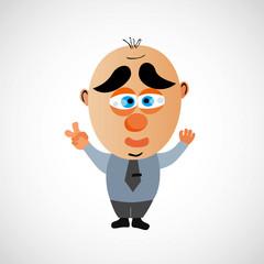 Cartoon businessman with a big bald head. Vector.