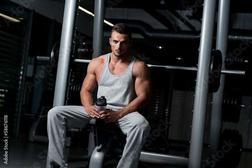 Fit Man Drinking Water