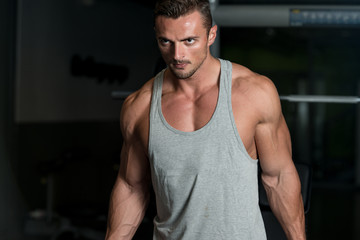 Muscular Man Exercising Biceps In Gym