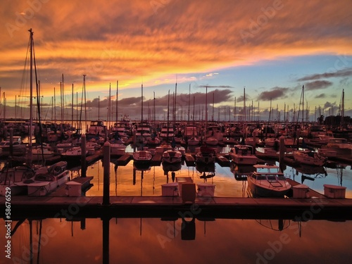 Sunset over Sailboats Chula Vista Marina Southern California