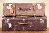 Vintage travel valises with leather name tags blanks poster