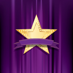 golden bulb purple banner