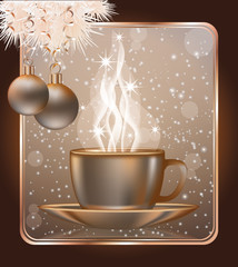 Happy Christmas greeting card with  coffe cap