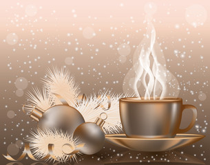 Happy Christmas background with coffee cap, vector