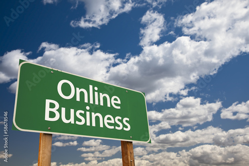Online Business Green Road Sign and Clouds