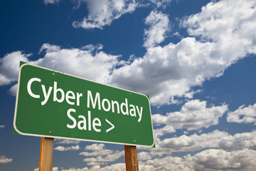 Cyber Monday Sale Green Road Sign and Clouds