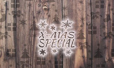 wooden christmas special symbol with presents