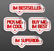 I am bestseller. Speech bubbles set.